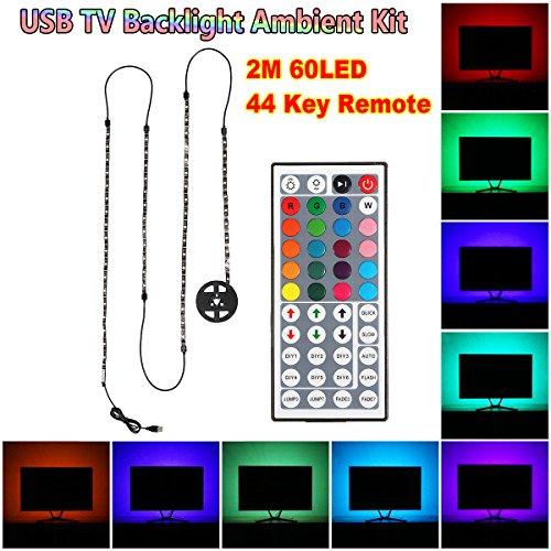 SOLMORE LED-TV-Hintergrundbeleuchtung Streifen Lichter 2M Heimkino LED-Beleuchtung Kits Streifen Lichter Lichterketten Multicolor Changing für Küchenschränke Lichter RGB-Licht Streifen