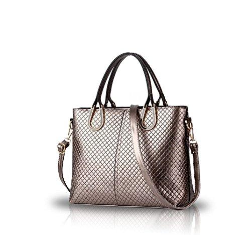 NICOLE&DORIS Borsa a tracolla intrecciata nuovo casuale stereotipi Borsa delle donne Messenger Bag(Black) cannella