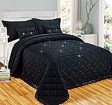 Tagesdecken-Set mit Kissen, Diamant-Design, wendbar, Polyester, schwarz, Doppelbett