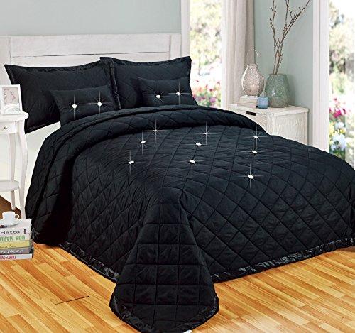 Parure de lit réversible avec diamants, Polyester, noir, Super king