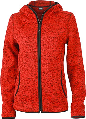Ladies Kapuzenjacke in Melangeoptik Red Melange/Black
