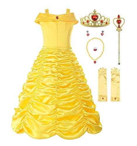 ReliBeauty Mädchen Kleider Brosche Prinzessin Kleid Belle Einfarbig Drop Shoulder Falten Rock Cosplay Kostüme, Gelb(mit Zubehör), 128-134(Etikett 140)