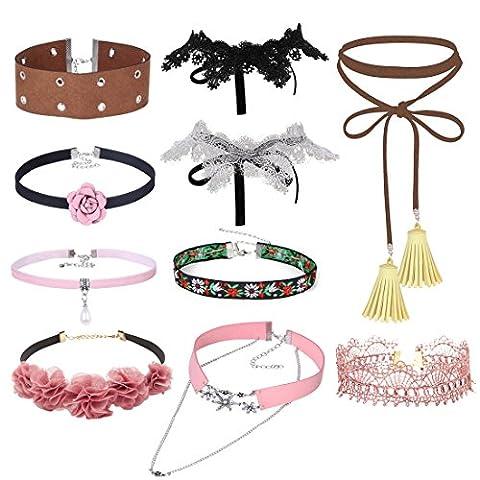 Tpocean 10pcs Gotisch Retro Breit Neckband Choker Halsband Set Rosa