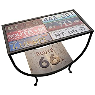 Hoskins Route 66 USA Number Plate Retro Americana Classic Side Table