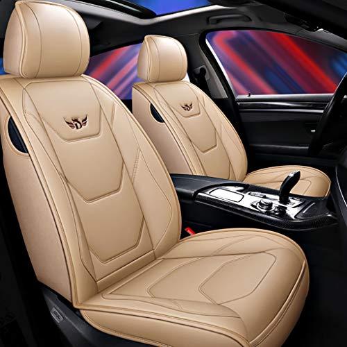 Autositzbezug, Vorne Hinten 5 Sitz Voll Set Universal Leder Seasons Pad Kompatibel Airbag Seat Protectors Wasserdicht. (Farbe : Beige) -