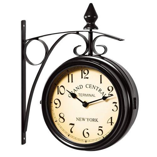 Reloj de pared estilo vintage retro 'estacion tren' doble cara - dos movimientos - hierro forjado-...