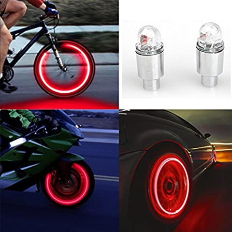 Twinkling Stars 4 Pcs LED Automatic Wheel Tire Neon Lights Valve Caps for Car Cycling Bike Bicycle (Red)