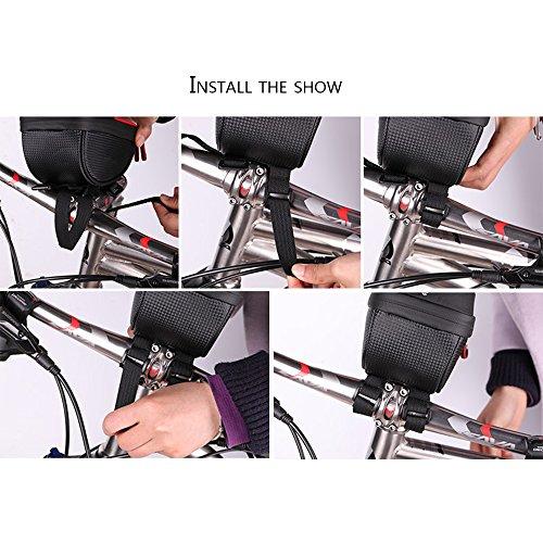 Handy-Fahrradtasche,6 Zoll wasserdichter TPU Touchscreen,doppelter Reißverschluss-Speicher Schwarz