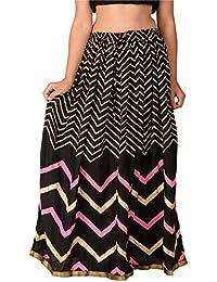 Diamo Women's Rayon Ethnic Skirt (Black)