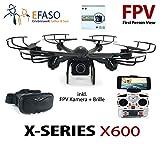 efaso Quadcopter MJX X600 FPV WiFi Drohne mit 2.0 MP 720p HD-Kamera C4018 und VR 3D Brille - Mit One key return, Headless Mode, Flip-Funktion, LED Beleuchtung, stufenlosem Geschwindigkeitsregler und Rotorschutz