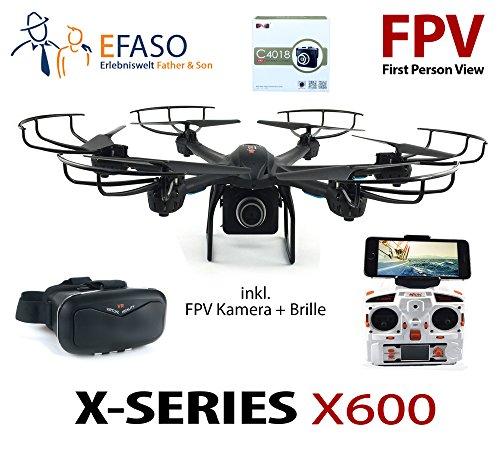 Preisvergleich Produktbild efaso Quadcopter MJX X600 FPV WiFi Drohne mit 2.0 MP 720p HD-Kamera C4018 und VR 3D Brille - Mit One key return, Headless Mode, Flip-Funktion, LED Beleuchtung, stufenlosem Geschwindigkeitsregler und Rotorschutz