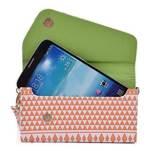 Kroo d'embrayage avec dragonne Portefeuille 16cm Smartphones et phablettes pour Pantech Vega No 6 Rose White and Orange