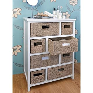 Tetbury Large Chest of Drawers with Whitewash Baskets. White hallway bathroom basket storage unit with solid sides and back. FULLY ASSEMBLED.