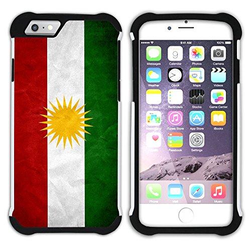 Graphic4You Vintage Uralt Flagge Von Kurdistan Kurdisch Design Hart + Weiche Kratzfeste Hülle Case Schale Tasche Schutzhülle für Apple iPhone 6 Plus / 6S Plus Kurdistan Kurdisch