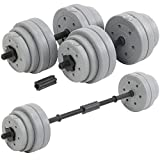 DTX Fitness 30Kg Adjustable Weight Lifting Dumbbell Barbell Bar & Weights Set – Silver