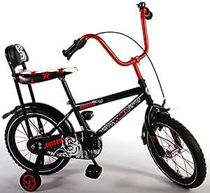 Vélo pour les enfants Chopper 16 pouce avec roues arrières de stabilisation frein à rétropédalage âge 4 - 6 noir rouge