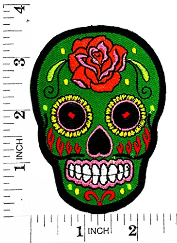Green Tracery Mexican Sugar Skull Rider Biker Motorcyle Patch Hand Embroidered Iron-on And Sew-on Symbol Jacket T-shirt Patches Applique - Halloween-look Skull Sugar