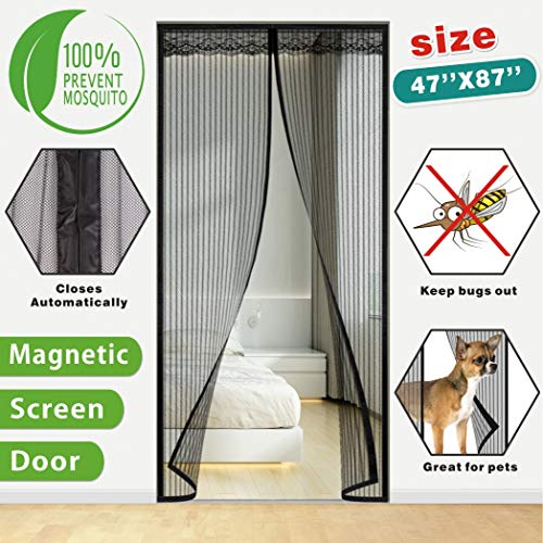 Idefair Magnetische Fliegengitter-Tür, Insekten, Moskitotür, schließt automatisch, einfache Klebemontage, ohne Bohren, ideal für Balkontür, Wohnzimmer, Keller, Terrasse, Tür