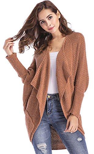ClasiChic damen Strickjacke Irregulär Cardigan Asymmetrisch Langarm Loose Pullover mit Taschen (Kamel, s) (Valentine Strickjacke)