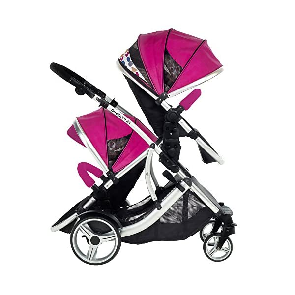 Duellette 21 BS Double Twin Pushchair with 2 footmuffs and Free Changing Bag. Complete with 2 seat units, & 2 rain covers. Dooglebug raspberry. compatible with kids kargo safety pod 0+ car seat Kids Kargo Various seat positions. Both seats can face mum (ideal for twins) Suitability Newborn Twins (if used with car seats) or Newborn/toddler. Accommodates 1 or 2 car seats Rain covers 7