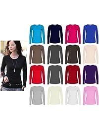 Camiseta de manga larga para mujer, cuello redondo, diseño liso