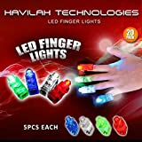 HAVILAH TECHNOLOGIES 20Pcs Super Bright LED Finger Lights Finger Flashlight Light up Toys Party Favor Supplies (Mixed Color)