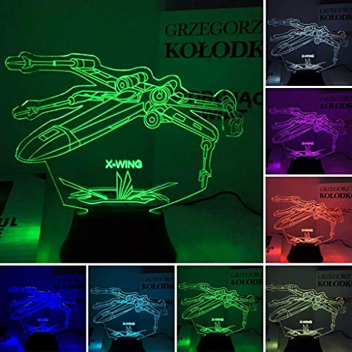 X-Wing Space Craft, 3D-Nachtlicht, 7 Farbwechsel, LED Tischlampe (Xwing-video-spiel)
