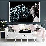 tzxdbh Leoparden Tiere Poster und Drucke Skandinavien Nordischer Stil Leinwandbild Wandbild für Wohnzimmer ab 60x90cm ohne Rahmen PA124