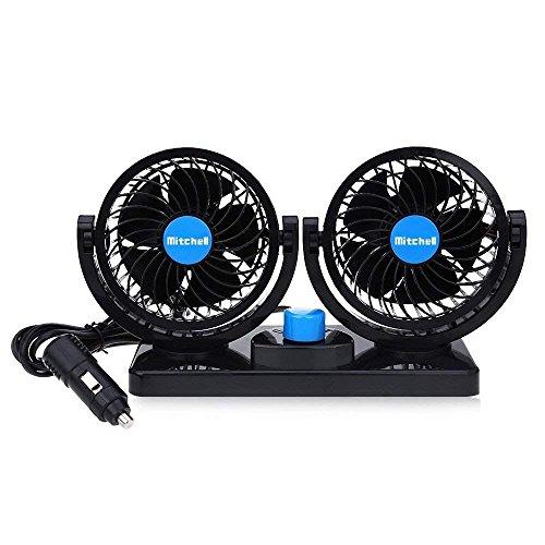KanCai® 12V ventilador de coche eléctrico de 360 grados rotativo 2 velocidad...