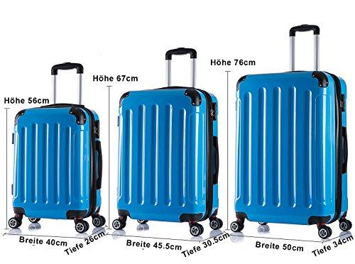 WOLTU RK4212bl, Reise Koffer Trolley Hartschale Volumen erweiterbar, Reisekoffer Hartschalenkoffer 4 Rollen, M/L/XL/Set, leicht und günstig, Blau 3er Set (M+L+XL) - 6