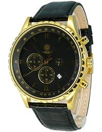 Constantin Durmont Herren-Armbanduhr XL Detours Chronograph Leder CD-DETO-QZ-LT-GDGD-BK