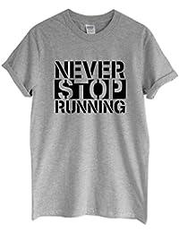 Rock Paper Sisters Unisex Slogan T-Shirt: Never Stop Running