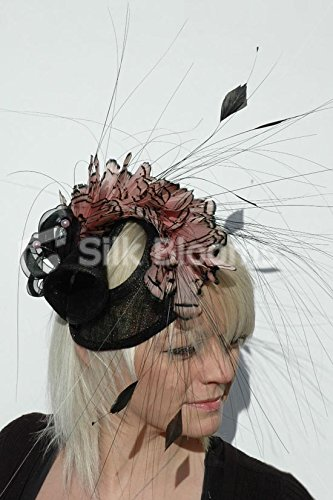 Silk Blooms Ltd Hut für Mutter der Braut, Federmütze, Schwarz/Lachsrosa - Braut Der Mutter Hüte