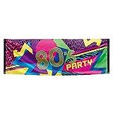 Amakando Stoffbanner Achtziger - 74 x 220 cm - 80er Jahre Party Banner Deko Transparent Textilbanner Mottoparty Spruchband Disco 80er Jahre Party Banner