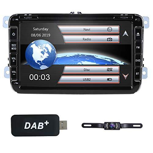 hizpo 8 Zoll 2 Din-Autoradio für VW Golf Passat Jetta Skoda Seat mit Wince-System DVD-Player GPS-Navigation FM AM-Radio Bluetooth USB SD Unterstützte 7 Tastenfarben Lenkradbedienung 1080P +Camera+DAB+