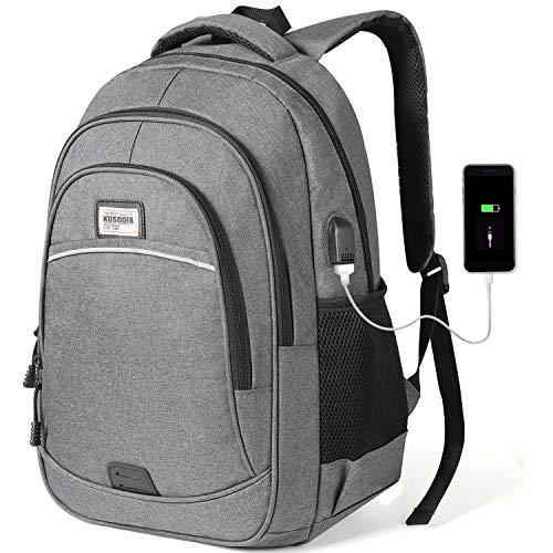 KUSOOFA Zaino per PC, Zaino Uomo Portatile 15.6 Pollici Laptop con Porta USB Zaino Computer per Viaggi Scolastici Aziendali 35L(Grigio)