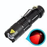 darkbeam SK68Fokus verstellbar rot Licht Handheld Taschenlampen Tragbare Mini-LED Taschenlampe TACTICAL Taschenlampe mit Clip geeignet für Jagd, SOS