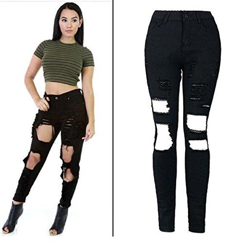 Jeans,WINWINTOM Donne Fredde Strappato Taglio Skinny Jeans Lunghi Pantaloni Pantaloni Slim Matita (M, Nero)