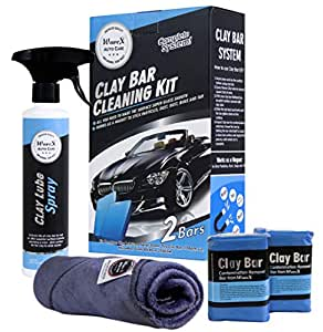 WaveX Contamination Removal 2 Clay Bar of 100grm each with 1 350ml Lubricant Spray and 1 Microfiber Cloth for removing rust and foreign particles from paint and glass