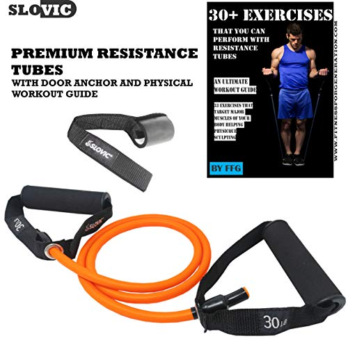 SLOVIC Resistance Band/Resistance Tube with Door Anchor & Physical Booklet with 30 Plus Exercises,(30 LBS / 50 LBS). (Orange, 30 LBS)