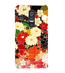 Fuson Designer Back Case Cover for LG G2 :: LG G2 Dual D800 D802 D801 D802TA D803 VS980 LS980 (Flowers Roses Dahlia floral Green Leaves)