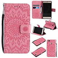 Huawei P9 Lite Case, KKEIKOŽ Huawei P9 Lite Flip Leather Case [with Free Tempered Glass Screen Protector], Shockproof Bumper Cover and Premium Wallet Case for Huawei P9 Lite (Pink)