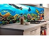Küchenrückwand Folie selbstklebend FISCHE IM OZEAN 180 x 60 cm | Klebefolie - Dekofolie - Spritzchutz für Küche | PREMIUM QUALITÄT