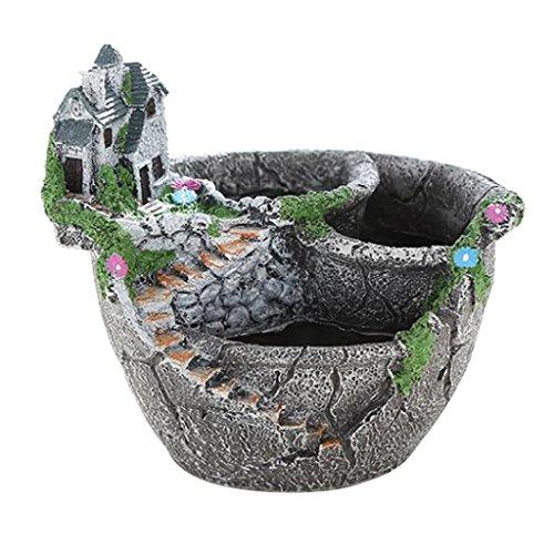 Homyl Harz Blumentopf Garten pflanzschale Kakteen Sukkulente Topf Schloss Form für Garten Tisch Balkon Deko, Silber