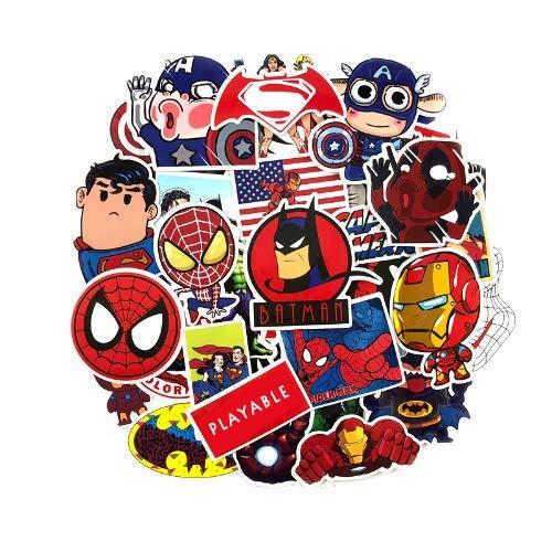 zwuszw Superheld Stil Aufkleber Ironman Captain America Spiderman Fahrrad Kühlschrank Gepäck Laptop Gitarre Wasserdicht Doodle Aufkleber 50 stücke - Captain America-fahrrad