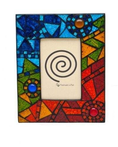 Handmade Abstract Rainbow Mosaic Glass Photo Picture Frame 6 x 4""