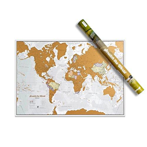 Scratch the World® poster mappa del mondo - da grattare via i posti in cui viaggi - i migliori dettagli cartografici - tubo per la conservazione/cilindro regalo - 84 x 59 cm