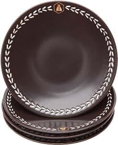 Laguiole 437314 Vaisselle en Grès Lot de 4 Assiettes Dessert grès naturel Diam: 20 cm Chocolat
