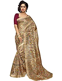 Kanchnar Women's Cotton Silk Beige Printed Casual Wear Saree