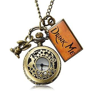 Pretty See Vintage Drink Me Pocket Watch Necklace Quartz Watch Alice in Wonderland
